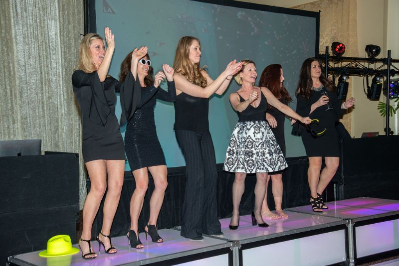 Bat-Mitzvah stage with women dressed up in black lined up, dancing