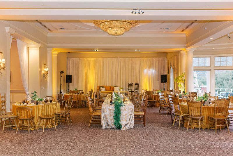 Stage and tables set for corporate event