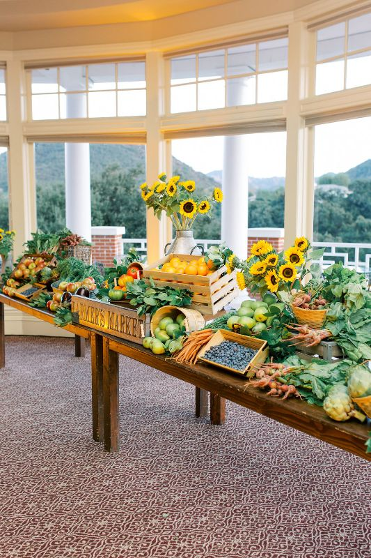 Special fresh food table set up for special event