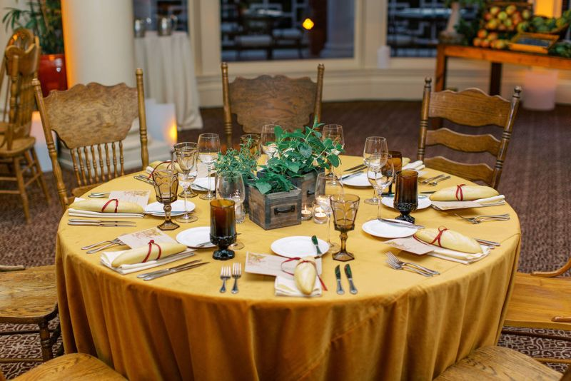 Up-close of table set for special event dinner