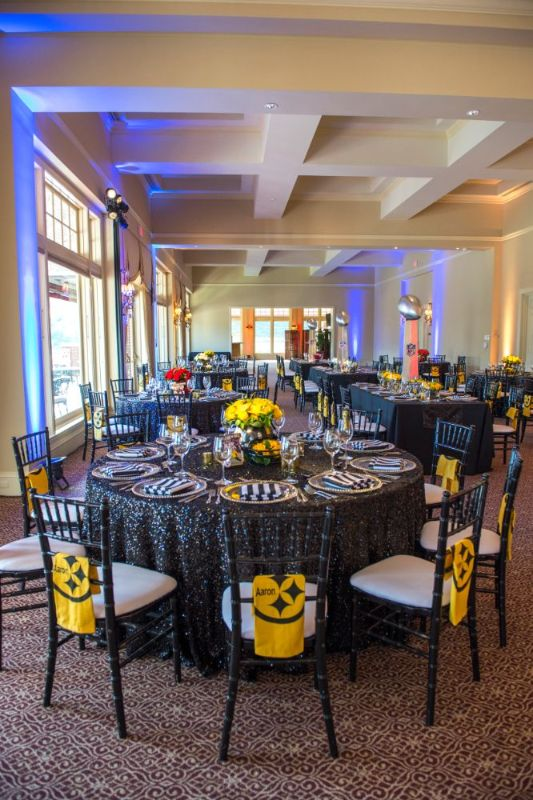Bar Mitzvah, football theme, shot of whole room with tables set