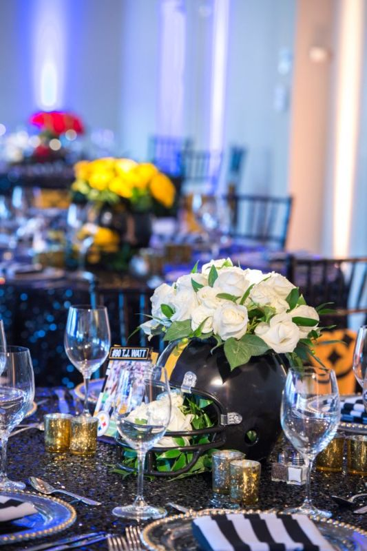 Bar Mitzvah, football theme, close-up of table decorations