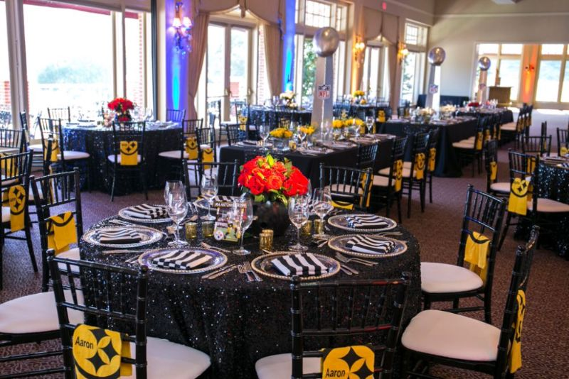 Bar Mitzvah, football theme, shot of tables set for guests