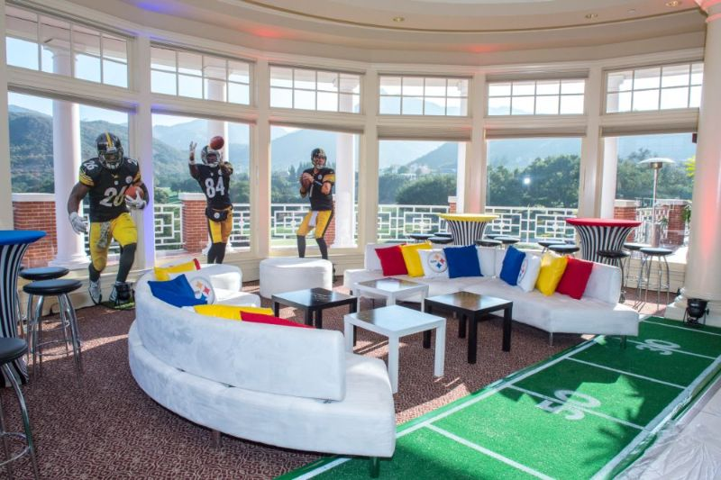 Bar Mitzvah, football theme, seating and football player cutouts