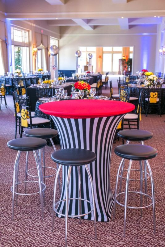 Bar Mitzvah, football theme, tables and chairs