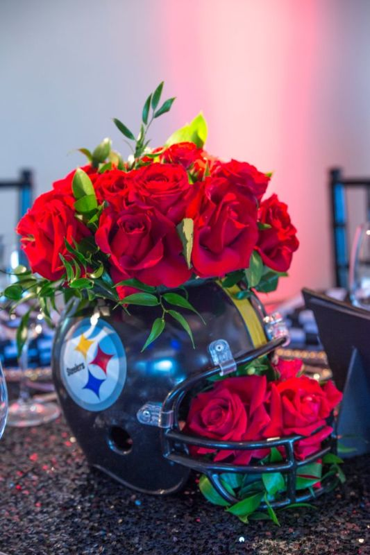 Bar Mitzvah, football theme, football helmet with flowers