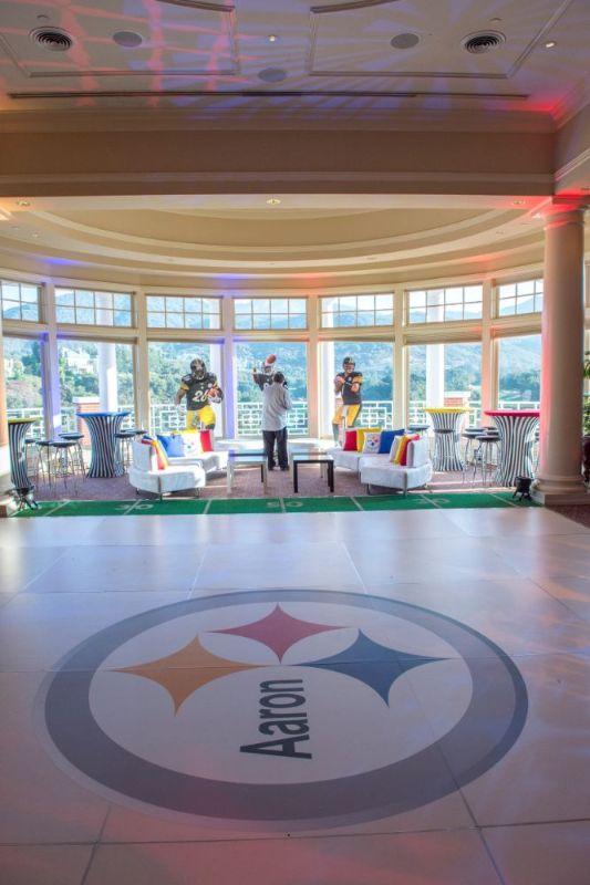Bar Mitzvah, football theme, comfortable seating and dance floor