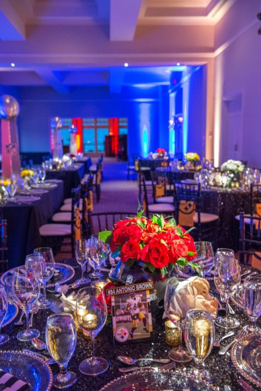 Bar Mitzvah, football theme, tables and table decorations