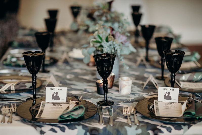 Call of Duty-themed Bar Mitzvah, camo table settings