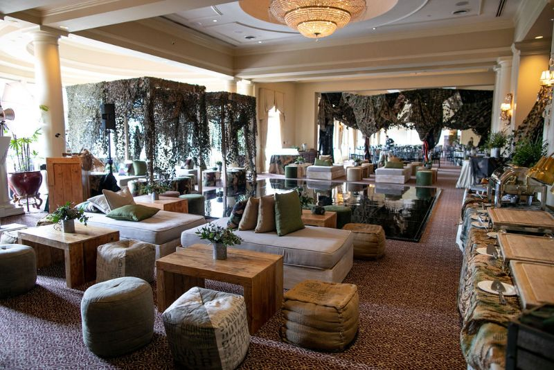 Call of Duty-themed Bar Mitzvah, seating with camo tents and pillows