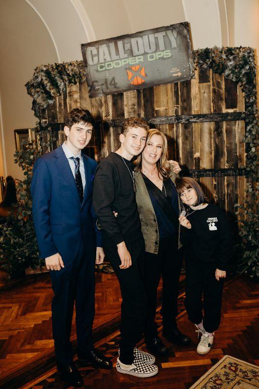 Call of Duty-themed Bar Mitzvah, happy family posing