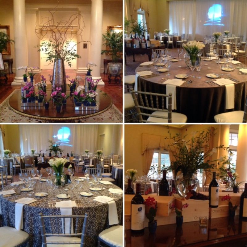 4 different views of tables set for a special event