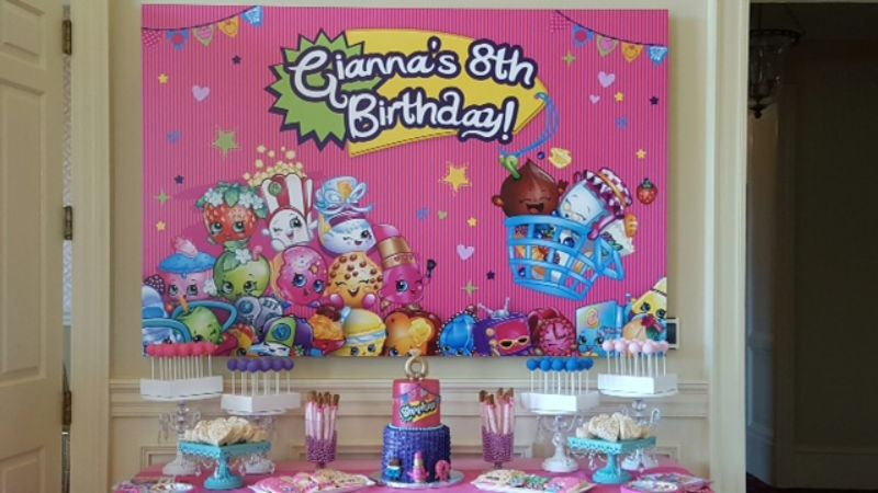 food table set up for girls' birthday party