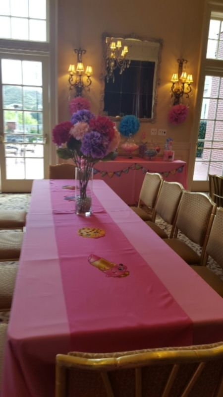 Tables set up for girls' birthday party