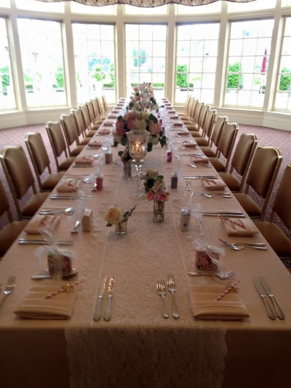 Special event space with long table set for