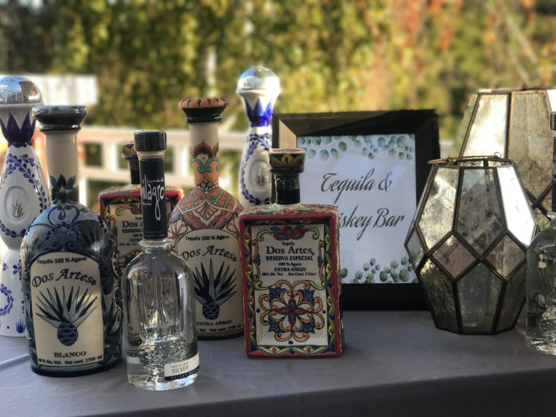 Special event venue, up-close of Tequila & Whiskey Bar sign and bottles