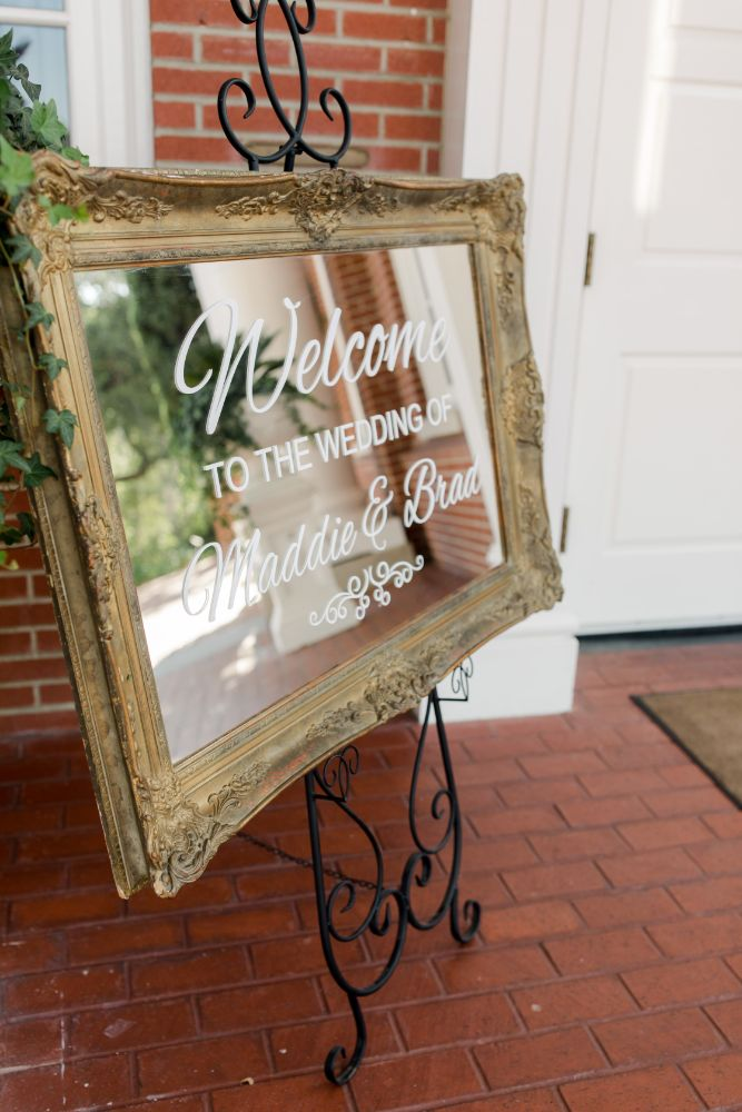 "Real Wedding-M&B ""Welcome to the Wedding of Maddie & Brad"" sign"