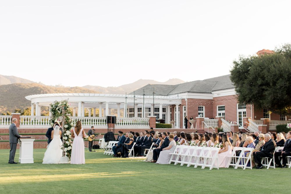Real Wedding-M&B Outdoor wedding guests seated