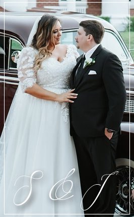 Real Wedding-S&J Posing in front of classic car