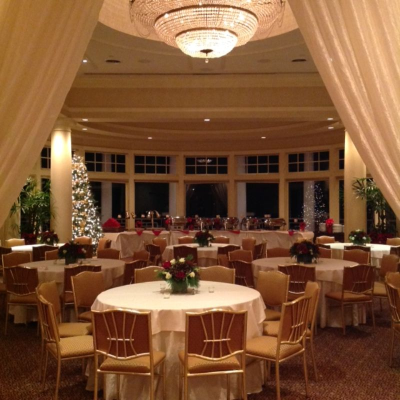 Corporate Christmas Party set up for guests, food tables set up in background