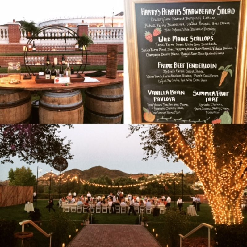 3 pictures of bar, menu board, and large table set up for large group outdoors