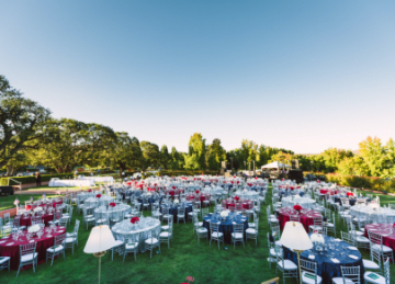 wedding with blue and red round tables